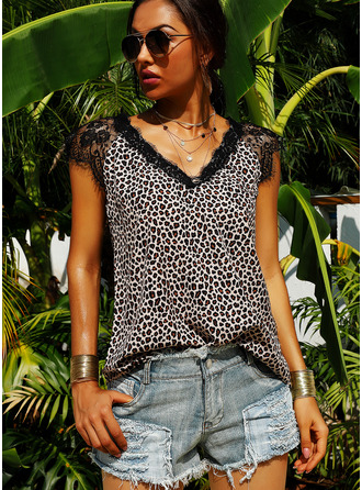 Patchwork Lace Leopard Cap Sleeve Polyester V Neck Blouses