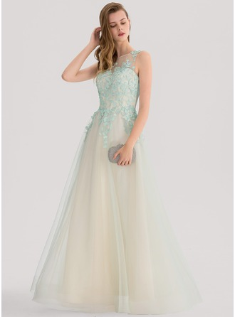 Ball-Gown Scoop Neck Floor-Length Tulle Prom Dress