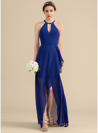 A-Line Scoop Neck Asymmetrical Chiffon Bridesmaid Dress With Cascading Ruffles