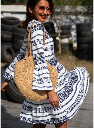 Print Striped Shift 3/4 Sleeves Flare Sleeve Mini Boho Casual Vacation Tunic Dresses