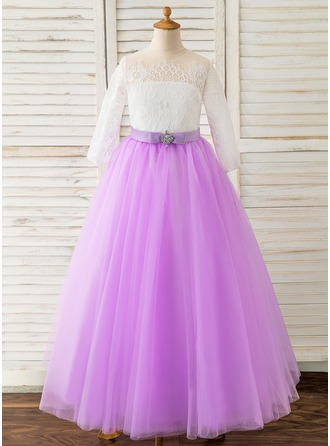 Ball-Gown/Princess Floor-length Flower Girl Dress - Tulle/Lace Long Sleeves Scoop Neck With Bow(s)/Rhinestone