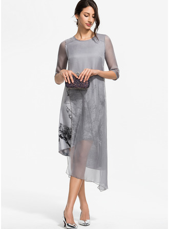 Print Shift 3/4 Sleeves Asymmetrical Casual Elegant Dresses