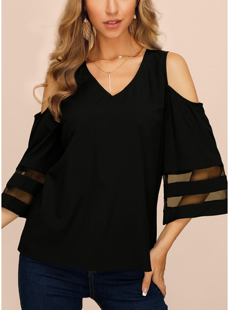 Solid Cold Shoulder 1/2 Sleeves Casual Elegant