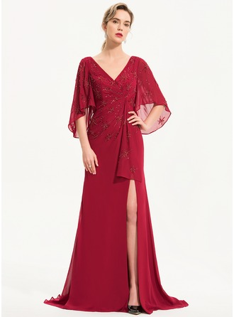 Sheath/Column V-neck Sweep Train Chiffon Evening Dress With Beading Sequins Split Front