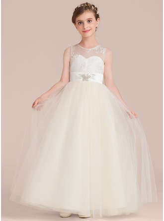 Scoop Neck Floor-Length Tulle Junior Bridesmaid Dress With Sash Beading
