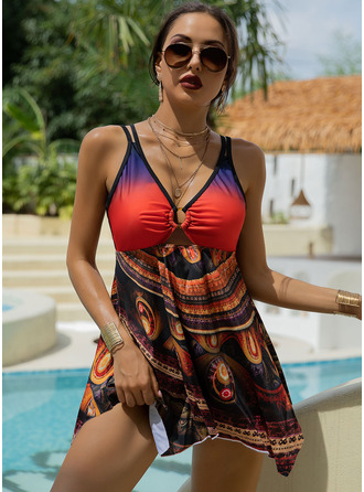 Swimdresses Polyester Colorful Print Women's Yes Swimwear