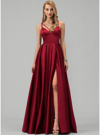 A-Line V-neck Floor-Length Satin Evening Dress With Split Front Pockets