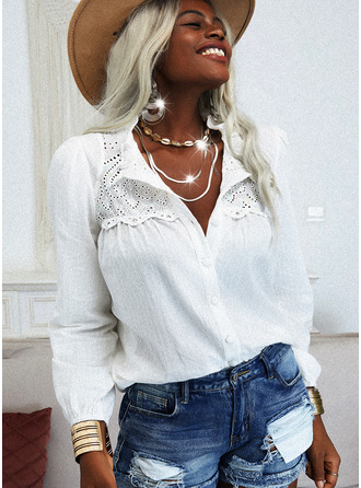 Lace Solid V-Neck Long Sleeves Button Up Casual Shirt Blouses