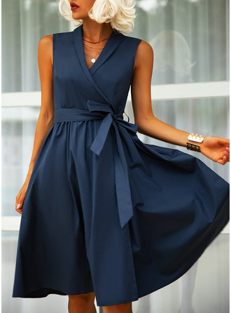 Solid A-line Sleeveless Midi Party Elegant Skater Wrap Dresses