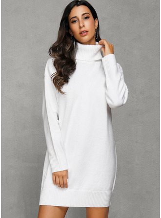 Turtleneck Polyester Long Sleeves Solid/Chunky knit/Cable-knit Sweater Dress Fashion Dresses