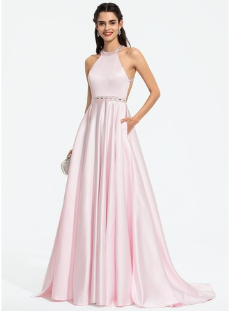A-Line Scoop Neck Sweep Train Satin Prom Dresses With Beading Sequins Pockets