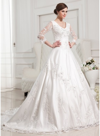 Ball-Gown V-neck Chapel Train Satin Wedding Dress With Beading Appliques Lace