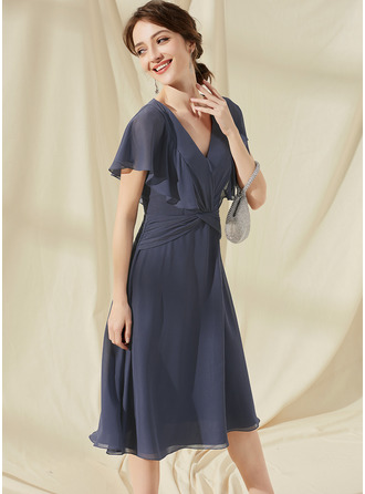 A-Line V-neck Knee-Length Chiffon Cocktail Dress With Ruffle