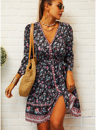 Floral Print A-line 3/4 Sleeves Mini Boho Casual Vacation Skater Dresses