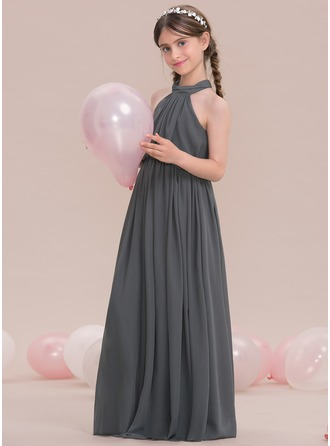 A-Line/Princess Scoop Neck High Neck Floor-Length Chiffon Junior Bridesmaid Dress With Ruffle