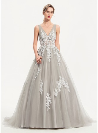 Ball-Gown/Princess V-neck Sweep Train Tulle Evening Dress