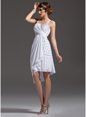 Sheath/Column Sweetheart Asymmetrical Chiffon Cocktail Dress With Ruffle Beading