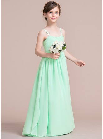 A-Line/Princess Floor-length Flower Girl Dress - Chiffon Sleeveless Sweetheart With Ruffles