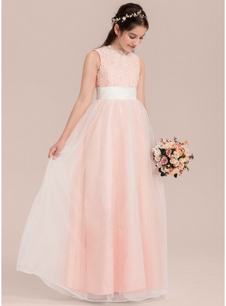 A-Line/Princess V-neck Floor-Length Organza Junior Bridesmaid Dress With Ruffle Sequins