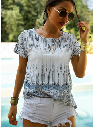 Print Short Sleeves Polyester Round Neck Blouses Blouses
