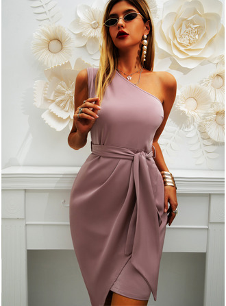 Solid Bodycon Sleeveless Mini Party Dresses (294253690)