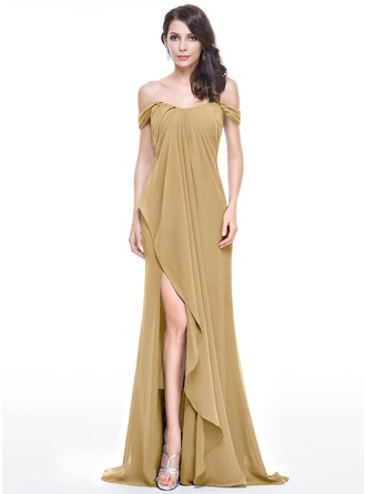 A-Line/Princess Off-the-Shoulder Sweep Train Chiffon Prom Dress With Split Front Cascading Ruffles