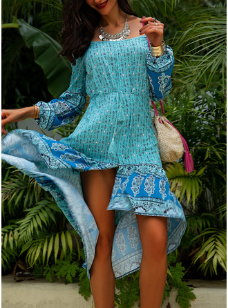 Print A-line Cold Shoulder Sleeve Long Sleeves Asymmetrical Casual Vacation Skater Dresses