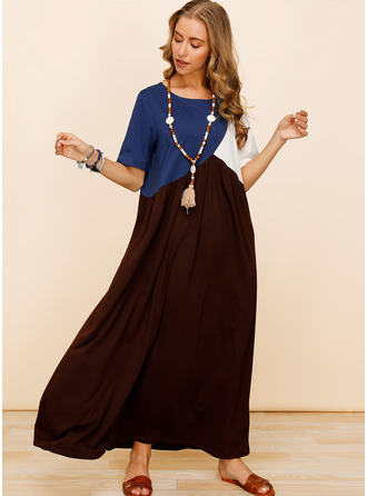 Color Block Shift Short Sleeves Maxi Casual Dresses