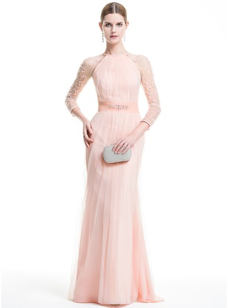 Trumpet/Mermaid Scoop Neck Sweep Train Tulle Evening Dress With Ruffle Beading Appliques Lace Sequins
