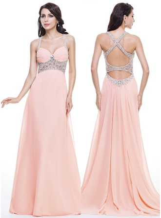 Trumpet/Mermaid Sweetheart Watteau Train Chiffon Prom Dress With Ruffle Beading Sequins