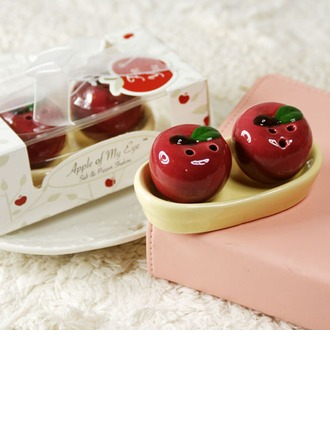 """""""Apple Of My Eye"""" Ceramic Salt & Pepper Shakers With Ribbons/Tag (Set of 2 pieces)"""
