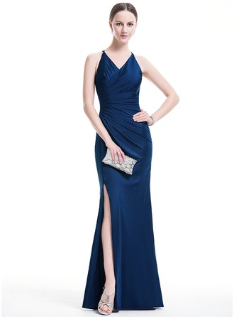 Trumpet/Mermaid V-neck Floor-Length Jersey Prom Dresses With Ruffle Split Front