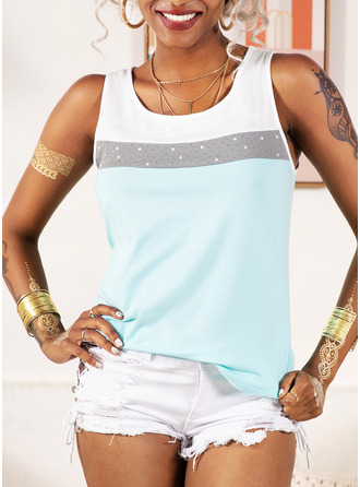 Color Block Sleeveless Polyester Round Neck Tank Tops Blouses