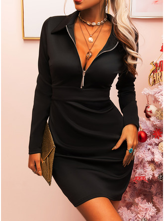 Solid Sheath Long Sleeves Mini Little Black Elegant Dresses