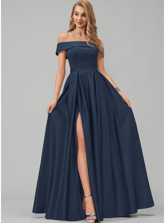A-Line Off-the-Shoulder Floor-Length Satin Prom Dresses With Split Front Pockets
