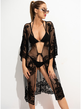 Cover-ups Polyester Solid Color Women's No Swimwear