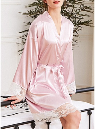 charmeuse Brud Brudepige Junior brudepige Blank Robes Lace Robes