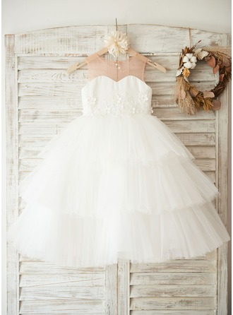 Ball Gown Tea-length Flower Girl Dress - Satin/Tulle Sleeveless Scoop Neck With Flower(s)