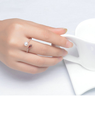 Ladies' Unique 925 Sterling Silver/Rose Gold Plated Pearl/Crystal Rings For Bride/For Bridesmaid