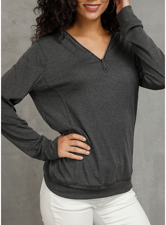 Solid V-Neck Long Sleeves Casual