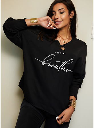 Figure Print V-Neck Batwing Sleeves Long Sleeves Casual T-shirt