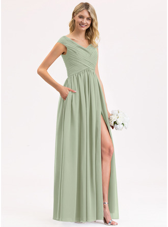 A-Line Off-the-Shoulder Floor-Length Chiffon Bridesmaid Dress With Ruffle Split Front Pockets
