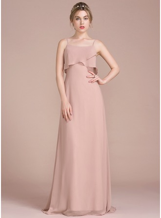 A-Line/Princess Square Neckline Sweep Train Chiffon Evening Dress With Cascading Ruffles