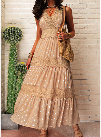 Lace PolkaDot A-line Sleeveless Maxi Casual Vacation Skater Dresses