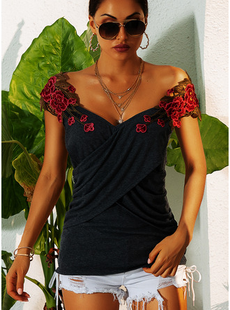 Embroidery Floral Sleeveless Polyester V Neck Tank Tops Blouses