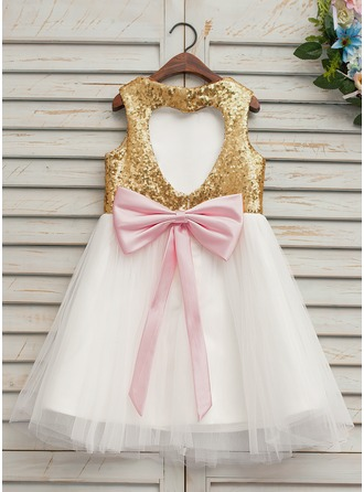 A-Line/Princess Knee-length Flower Girl Dress - Tulle/Sequined Sleeveless Scoop Neck With Bow(s)/Back Hole