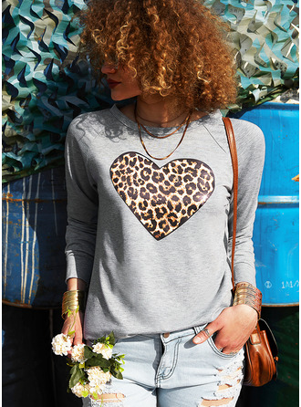 Leopard Heart Round Neck Long Sleeves Sweatshirt