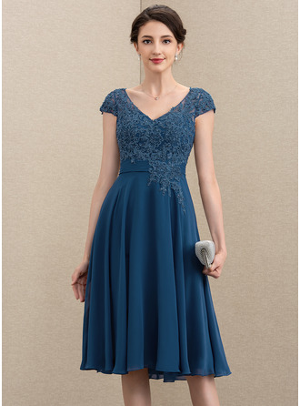 A-Line V-neck Knee-Length Chiffon Lace Mother of the Bride Dress With Beading Sequins