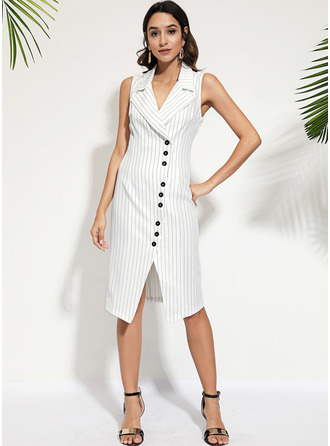 Striped Sheath Sleeveless Midi Casual Elegant Dresses