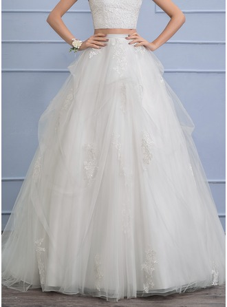 Separates Chapel Train Tulle Wedding Skirt With Appliques Lace Cascading Ruffles